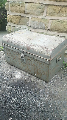 Antique Vintage Military Tin Metal Domed Trunk Chest Storage Box Grey Rusty
