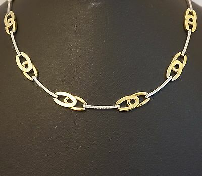 """18Carat Yellow Gold 14.75"""" Diamond Fancy Curb & Bar Link Necklace (7mm Wide)"""