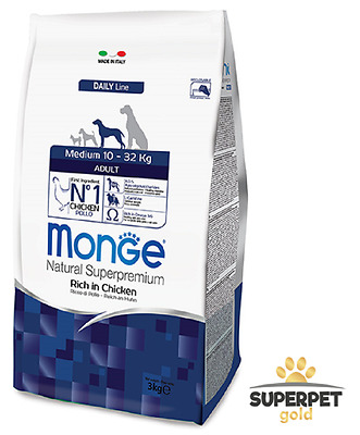MONGE crocchette SUPERPREMIUM ADULT MEDIUM pollo 12KG
