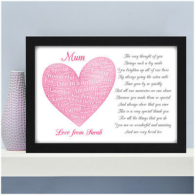 Mum Mummy Nan Personalised POEM Gifts Birthday Christmas Presents for Her Mam