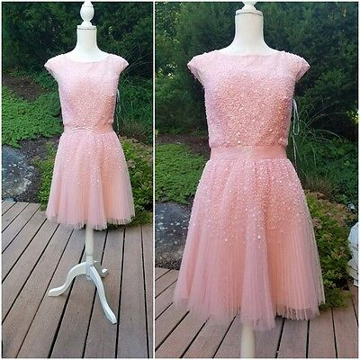 Sherri Hill Cocktail Party Prom Wedding Dress~Bead/Sequin~Blush~Sz.12~$450 NWT