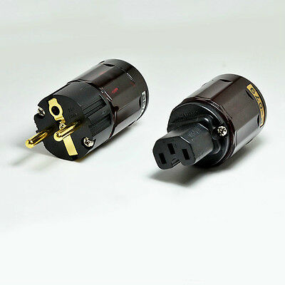 1pair Set New Gold Plated P-079e +C-079 Schuko Eu plug For Audio Connector