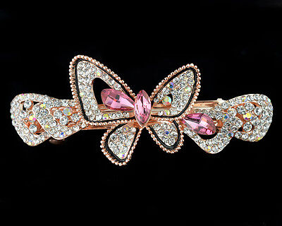 new jewelry rhinestone pink comb hair barrette butterfly women clip crystal claw
