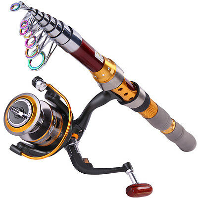 Carbon Telescopic Fishing Rod and Reel Combos Portable Travel Fishing Tackle Set