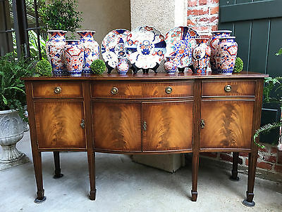 Antique English Mahogany Buffet Sideboard REGENCY Flame Mahogany Neoclassical