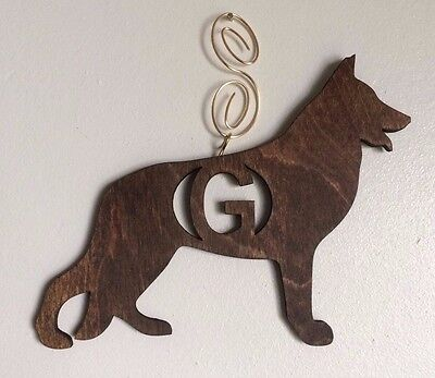 German Shepherd ORDER ANY LETTER Personalized Custom Dog Red Oak Wood Stained