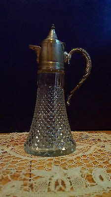 Vintage Glass Stein with Silver Plated Spout, Lid, and Handle