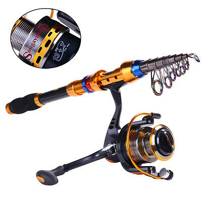 Telescopic Spining Fishing Rod and Reel Combo Set Saltwater Freshwater Fishing