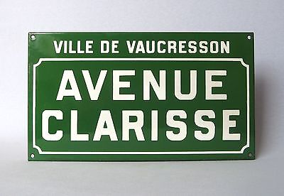"Uncommon Green VINTAGE FRENCH ENAMELED STREET SIGN, ""CLARISSE Avenue"""