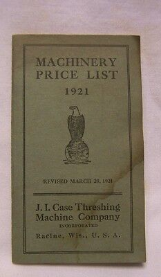 1921 J. I. Case Threshing Machine Company Machinery Price List Booklet