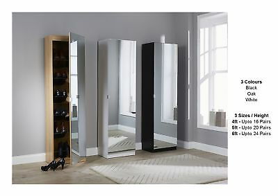 Mirrored Shoe Cabinet Storage Rack - Full Mirror - 3 Sizes - Black White Oak