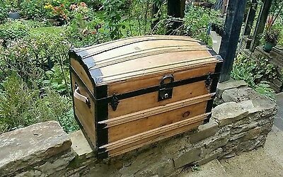 Antique domed top travel trunk, toy, blanket box chest log basket