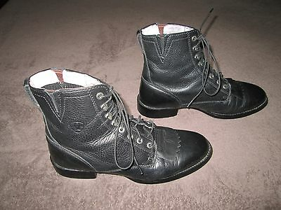 Women's Black Ariat Boots - 9C - Lace Up Ropers