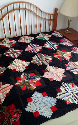 STRIKING Antique Hand Pieced LOG CABIN Vintage c.1920 Quilt TOP Wools & Cottons