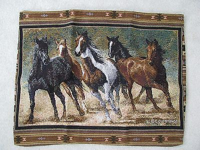 C Cummings Running Horses Tapestry Standard Pillow Sham/Cover Bedding 261/2 x 20