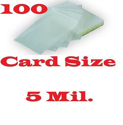 100 Card Size Laminating Pouches/Sheets 2-5/8 x 3-7/8  5 Mil