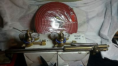 Victor oxy-acetylene torch kit with new 50' twin hose, new regulators, and more!