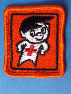 Red Cross Walter Safety Mascot Patch Swim Swimming Water Award Vintage Collector