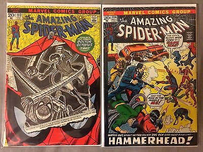 Marvel AMAZING SPIDER-MAN 113 + 114 *FIRST HAMMERHEAD* TWO BOOK LOT - HIGH GRADE