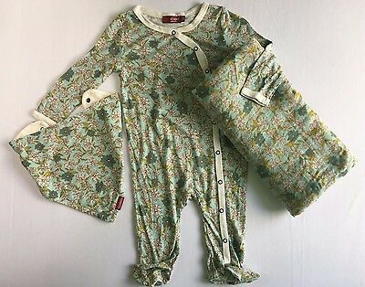 Milkbarn - Blue Floral Footed Romper 3-6mo, Swaddle, Kerchief Bib