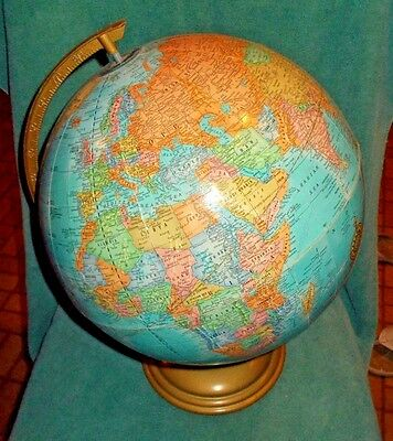 Vintage Cram's Imperial World Globe 1980's, 12 inches, Metal base