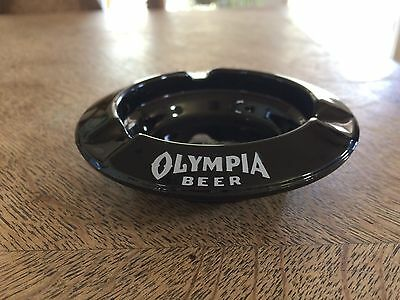 """Olympia Beer Ashtray, White Print, Black Glass, 4"""", Great for Mancave!!"""