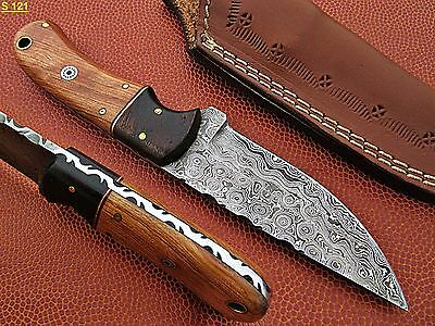 Custom Hand Made Damascus steel Hunting Knife With Rose & Olive Wood Handle.