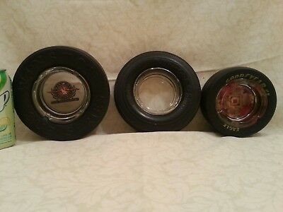3 Advertising Tire Ashtrays: Goodyear Eagle, BF Goodrich & Winston Cup Series