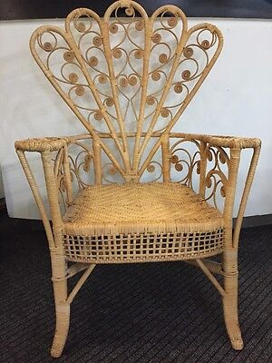 Vintage Retro Wicker Peacock Armchair Conservatory Furniture Chair Cane