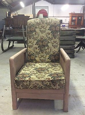 Vintage Arm Chair. Reclining / Recliner Chair. Original Vintage Textiles Fabric