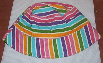 NEW Cute  Toddler Girls Multi Color Stripe Print Summer Hat    Size 2-4T
