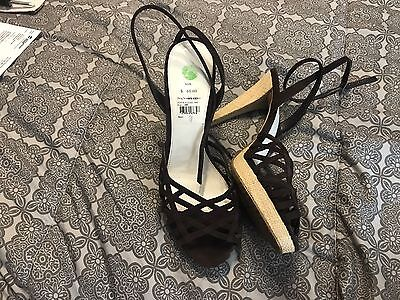 Ladies Size 11 Calvin Klein Strappy High Heel Shoes Chocolate Brown Gorgeous