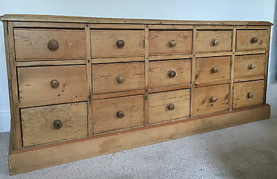 Antique Victorian Solid Pine Haberdashery Sideboard Chest Drawers Shop Counter