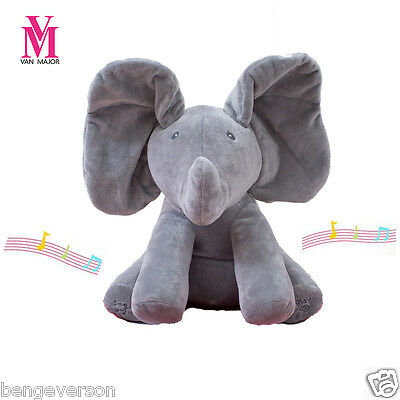 Peek-a-Boo Animated Talking and Singing Plush Elephant Stuffed Doll Toy For Baby
