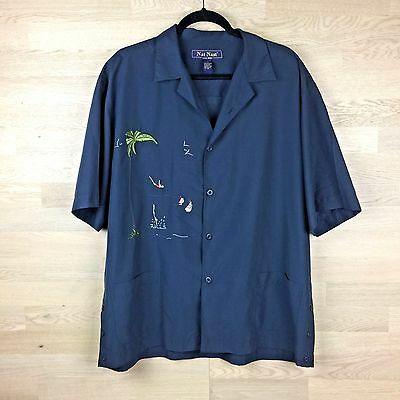 Nat Nast Mens Diver Shirt 50s Rockabilly Embroidered Pinup Lounge Blue Sz L A03