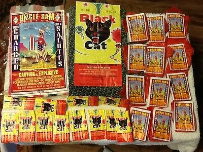 BLACK CAT and UNCLE SAM JULY 4 BRICK  FIRECRACKER LABEL + PACKAGE LABELS