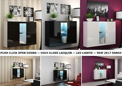 Wall Mounted Gloss Display Cabinet with LED Lights - Black, White, Black & White