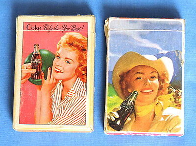 2 Sets - Coca Cola Vintage Playing Cards  - Bowling & Cowgirl