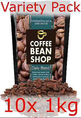 Coffee Beans 10KG! 10x 1kg VARIETY PACK ** FREE DELIVERY * espresso cafe office