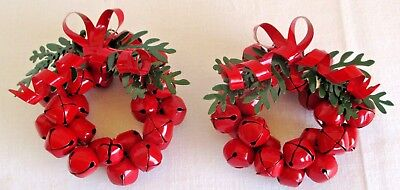Dept 56 Enameled Red Jingle Bell Wreath Ornaments 2 pieces