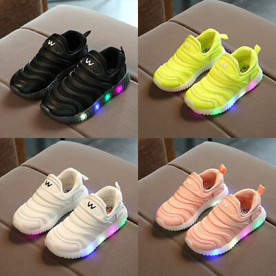 Led Boys Girls Babys Luminous Trainer Shoes Kids Sneaker Running Light Up Shoes