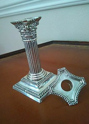 Antique Sterling Corinthian Column Candle Holder by Mathew John Jessop C.1901.
