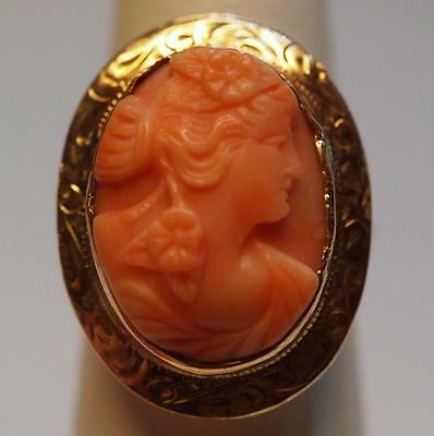 Antique Angel Skin Coral Cameo Ring in 14k Yellow Gold Size 6 Etched Frame