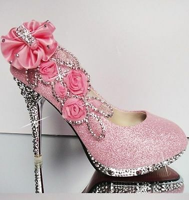 New pink beautiful Vogue lace Flowers Crystal High Heels Wedding Bridal Shoes ##