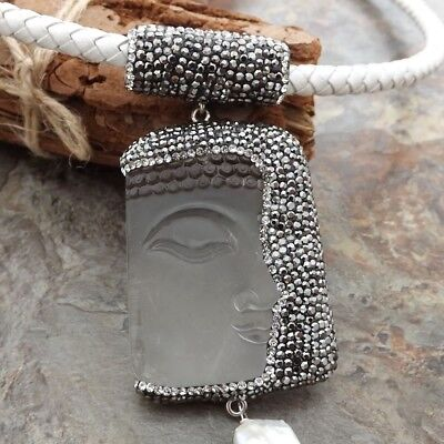 7b4f741e7d0 GE061210 19   White Leather Necklace Keshi Pearl Clear Crystal Buddha  Pendant