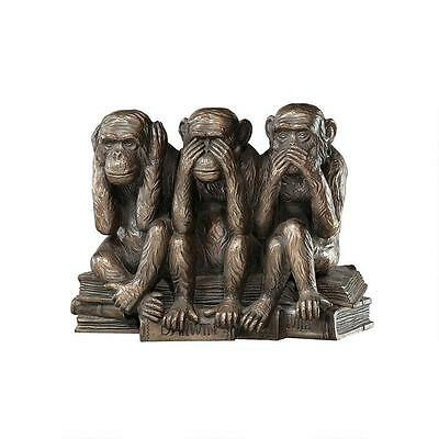 Figurine Monkeys The Hear-No See-No Speak-No Evil Resin With Bronze Finish Decor