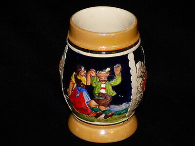 "Small German Beer Stein Mug 4"" Ceramic Couple Dancing Keep The Heart Young"