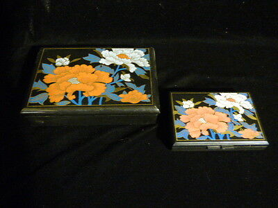 Chinese Mirrored Trinket  & Tissue Boxes Rectangular Black With Floral Design 2