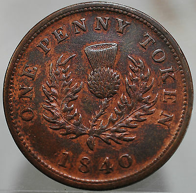 1840 Canada Province of Nova Scotia Copper Thistle One Penny Token