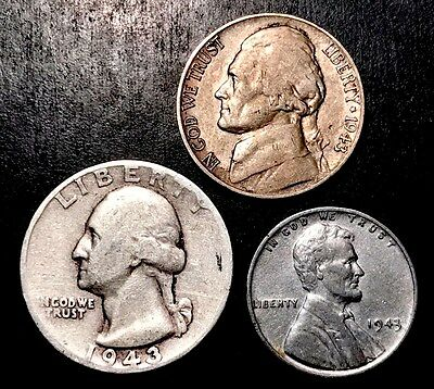 (90% Silver) 1943 Quarter, (35% Silver) War Nickel & '43 Steel Wheat [Lot |144|]